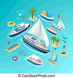 Water Transport Isometric Collection - Sea tourism...