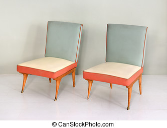 Pair of Antique Vintage Padded Chairs - Still Life of Pair...
