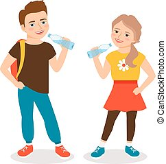 Kids drinking water. Cartoon little boy and small girl...