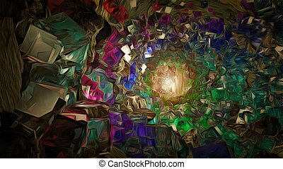 Crystals - Abstraction. Tunnel of colorful crystals.