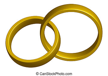 Wedding bands intertwined - clipping path included