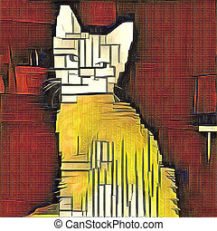 Cat - Abstract painting. Cat. Mondrian style.