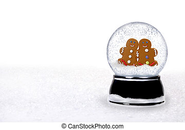 2 Happy Gingerbread People Inside a Snowglobe in Love on...