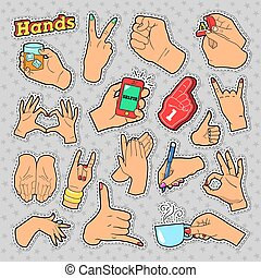 Hands Signs with Ok, Victory, Rock for Prints, Badges, Patches, Stickers. Vector Doodle