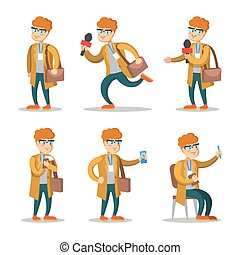 Journalist Cartoon Character Set. Man with Microphone....