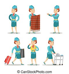 Stewardess Cartoon in Uniform. Air Hostess. Vector illustration