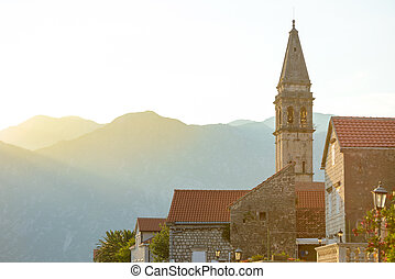 View of Famous Tower in Ancient Perast Town on Kotor Bay...