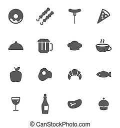 Vector black food icons set