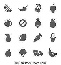 Vector black fruit and vegetables icons set