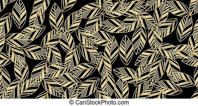 gold leaves seamless on black background. vector...