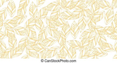 gold leaves seamless on white background. vector...