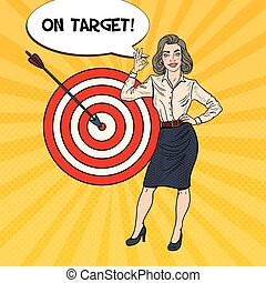 Pop Art Successful Business Woman Achieved the Target....