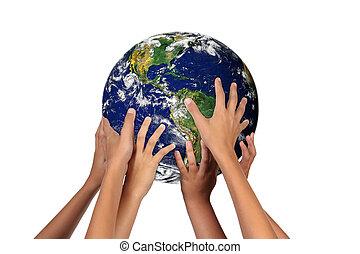 futuro, generaciones, con, tierra, su, Manos