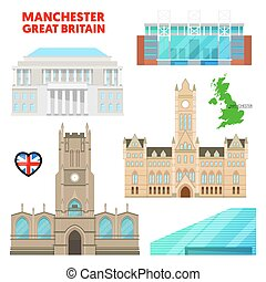 Manchester Travel Set with Architecture. Visit Great...