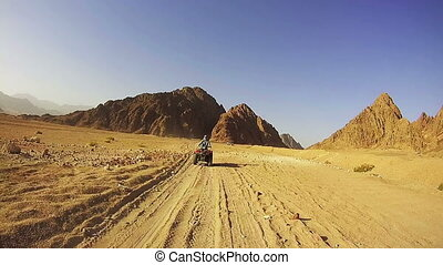 Woman Rides a Quad Bike in the Desert of Egypt. Driving...
