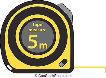 Roulette construction tool, yellow measure tape, in flat style.