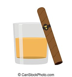 Glass of whiskey with cigar. Premium alcohol, tobacco. Flat style