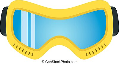 Yellow ski glasses in flat style. Modern trendy extreme accessor