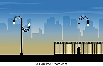 Silhouette of city with street lamp beauty landscape