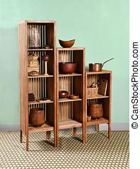 Modular wooden etagere displaying kitchenware - Modular...