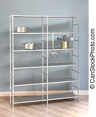Simple freestanding kitchen shelf with metal frame and...