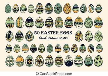 Big vector Easter egg set.