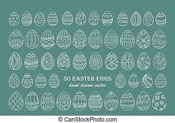Big vector Easter egg set. 50 Easter hand-drawn decorative...