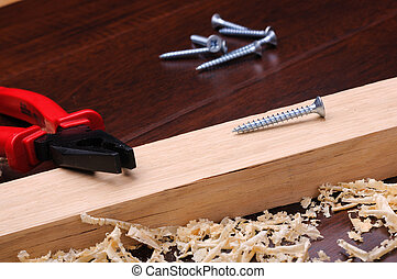 Wood shavings and various construction tools