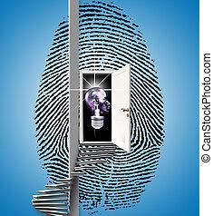 Fingerprint - Surrealism. Fingerprint with opened door,...