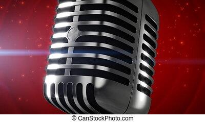 Vintage microphone on red stage - Vintage 3D microphone zoom...