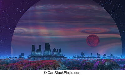 Gas Giant on the Background of the Alien Landscape - A huge...
