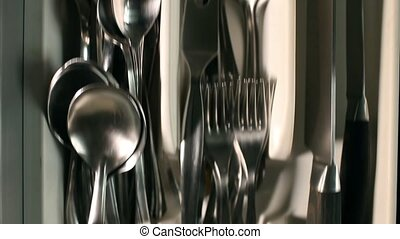 Utensils in kitchen drawer - cutlery drawer full utensils...