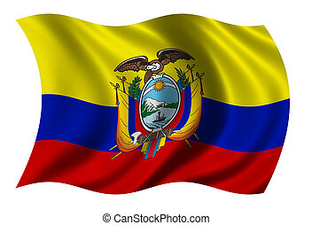 Flag of Ecuador waving in the wind - clipping path included