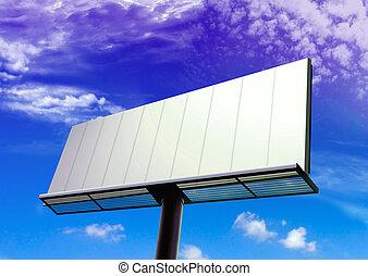billboard over blue sky background