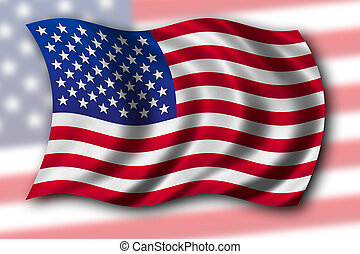 USA Flag waving in the wind - with fabric texture, clipping...