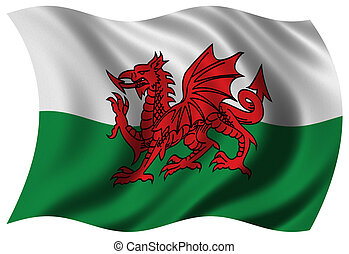 Flag of Wales waving in the wind - clipping path included