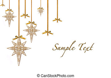 Christmas Ornament Stars Hanging from Ribbon and Bows