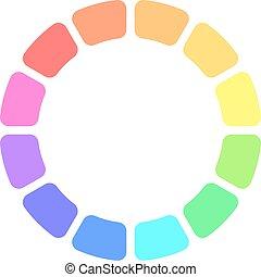 Partly transparent rainbow spectrum color blocks arranged in...