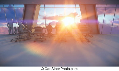 Business team in conference room, 3d clay render, rear view sunset