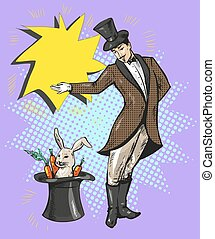 Vintage magician with rabbit in hat - Vintage magician with...
