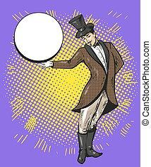 Circus magician or casino croupier character