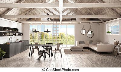 Minimalist mezzanine loft, kitchen, living and bedroom, wooden roofing and parquet floor, scandinavian classic interior design with garden panorama