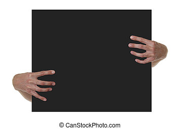 Hands Holding Black Blank Sign - Isolated Frame With Hands...