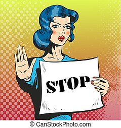 Beautiful woman showing stop gesture with hand pop art comic...
