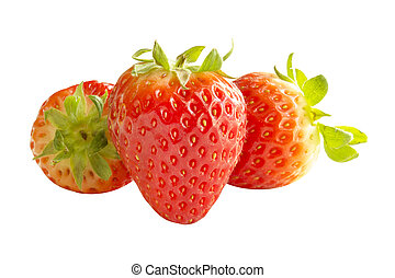 Fresh red strawberry fruit group isolated