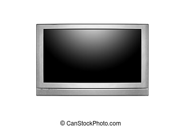 Huge LCD or Plasma TV Hanging on a Wall - Large Screen...