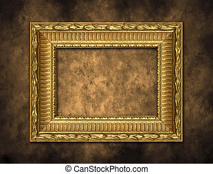 Golden Frame on Artistic Background - Blank Empty Gold Photo...