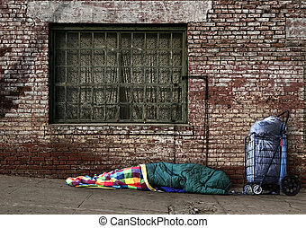 Transient Homeless Soul Sleeping on the Streets - Homeless...
