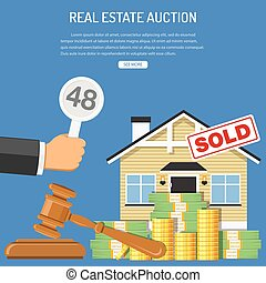 Sale real estate at auction - Auctions and bidding concept....