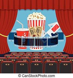 cinema auditorium with seats and popcorn - cinema auditorium...